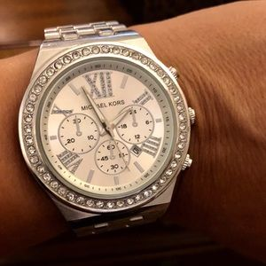 Michael Kors Like New Silver & Crystal Wrist Watch
